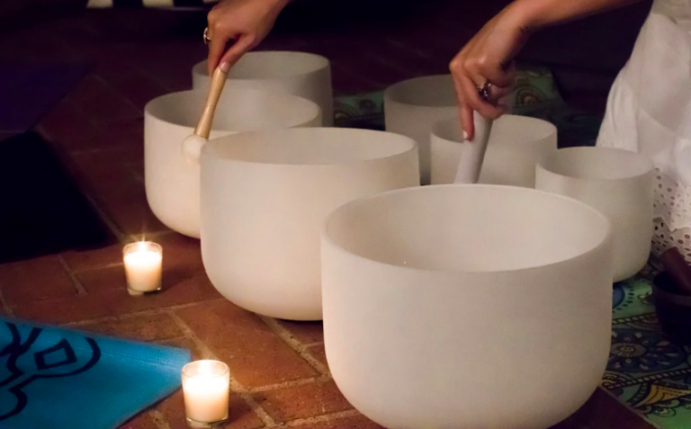 Crystal Singing Bowls that are used during the sound bath